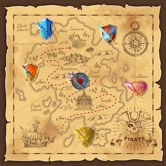 Carte de l'île de dessin animé