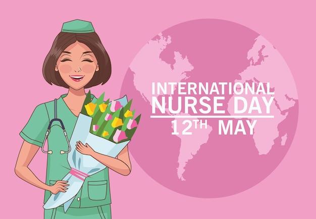 Carte d'illustration de la journée internationale des infirmières du 12 mai