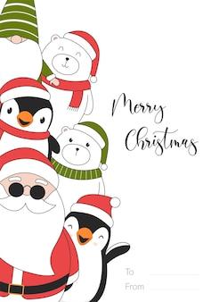 Carte d'illustration joyeux noël avec ours polaires, pingouins, elfe et père noël.