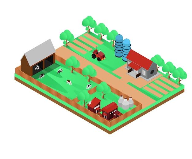 Carte illustration de style isométrique sur la ferme d'élevage ou l'agriculture