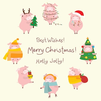 Carte d'illustration vectorielle avec le symbole de l'année - cochon jaune avec cadeaux de noël et voeux de noël drôle dessinés à la main