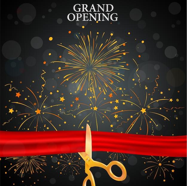 Carte d'inauguration avec ruban rouge et ciseaux d'or