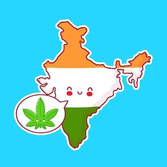 Carte de l'inde et caractère de drapeau avec de la marijuana de mauvaises herbes dans la bulle de dialogue