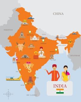 Carte de l'inde et icônes avec des gens en vêtements traditionnels
