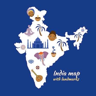 Carte de l'inde avec des points de repère