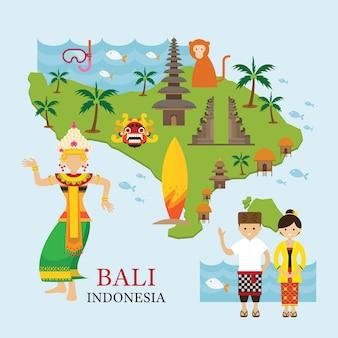 Carte de l'indonésie et points de repère avec des personnes en vêtements traditionnels