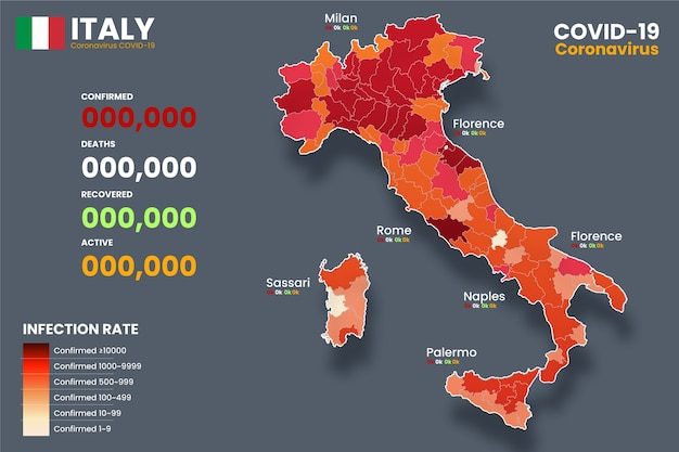 Carte infectée par un coronavirus en italie