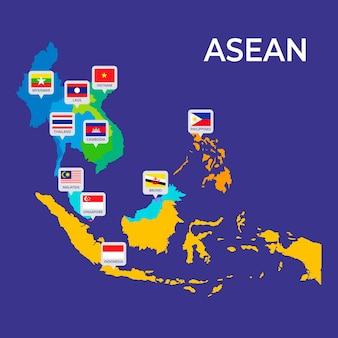 Carte infographique de l'asean