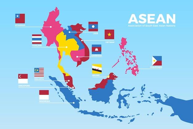 Carte Infographique De L'asean Vecteur gratuit