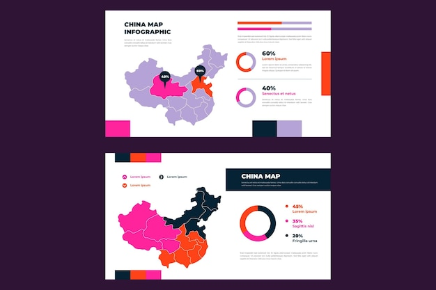 Carte infographique de la chine au design plat