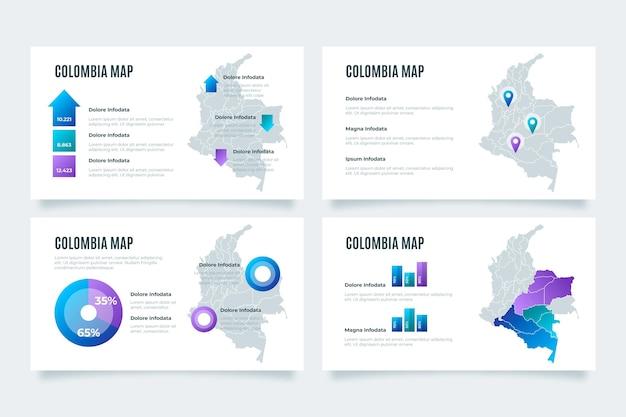Carte infographique de la colombie dégradé