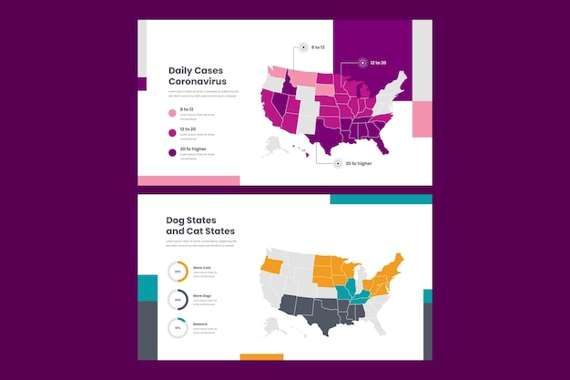 Carte infographique de conception plate amérique