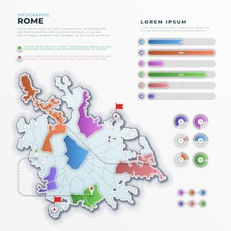 Carte infographique de dégradé de rome