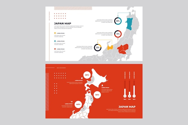 Carte infographique design plat du japon