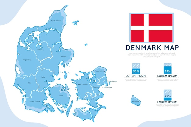 Carte infographique dessinée à la main du danemark