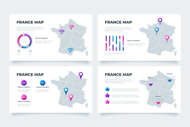Carte infographique de gradient de france