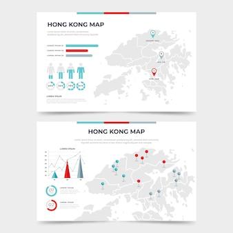 Carte infographique de hong kong plat