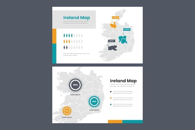 Carte infographique linéaire de l'irlande