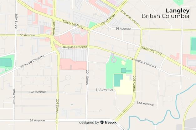 Carte d'information de la ville avec le nom des rues