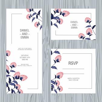 Carte d'inviation de mariage floral
