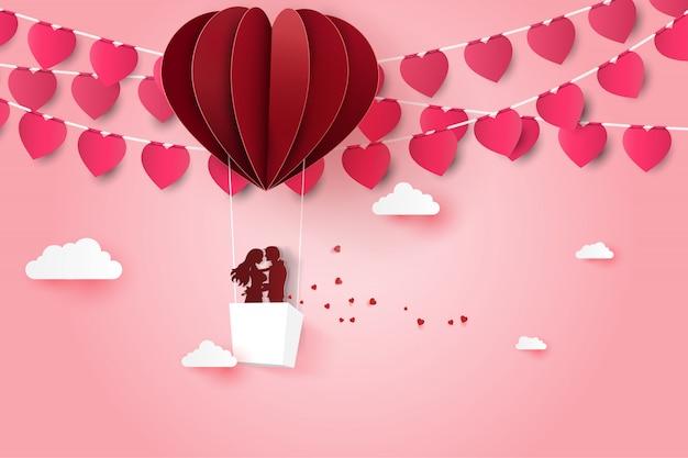 Carte d'invitation d'amour saint valentin avec ballon coeur.