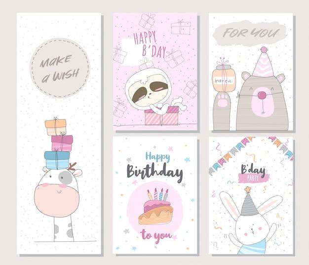 Carte d'invitation animal mignon anniversaire pour les enfants