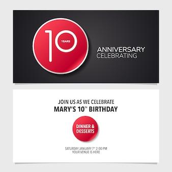 Carte d'invitation anniversaire 10 ans vector illustration modèle de conception graphique double face pour 1