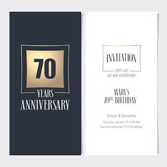 Carte d'invitation anniversaire 70 ans