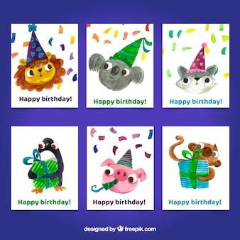 Carte d'invitation anniversaire avec des animaux