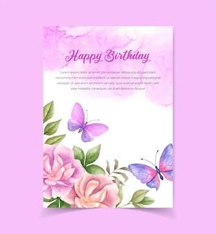 Carte d'invitation d'anniversaire à l'aquarelle avec des éléments floraux et des papillons