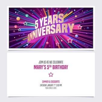 Carte d'invitation anniversaire de cinq ans