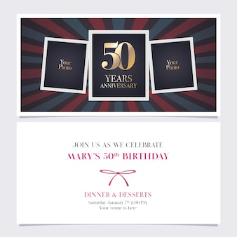 Carte d'invitation anniversaire cinquante ans