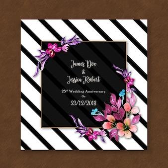 Carte d'invitation d'anniversaire floral d'aquarelle avec des rayures