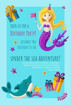 Carte d'invitation d'anniversaire avec une jolie petite sirène de dauphin et un design readymade d'étoile de mer