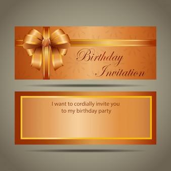 Carte d'invitation d'anniversaire or