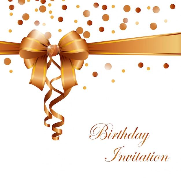 Carte d'invitation anniversaire avec ruban d'or