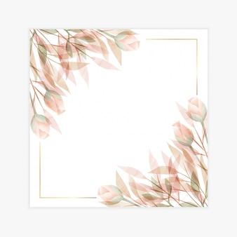 Carte d'invitation aquarelle cadre floral