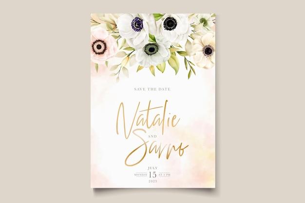 Carte d'invitation aquarelle coquelicot anémone