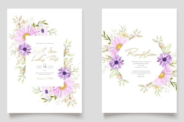 Carte d'invitation aquarelle élégante chrysanthème