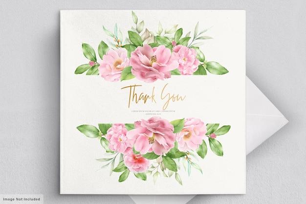 Carte d'invitation aquarelle fleurs de camélia