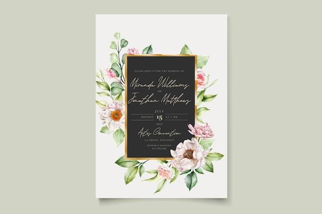 Carte d & # 39; invitation aquarelle pivoines et roses florales