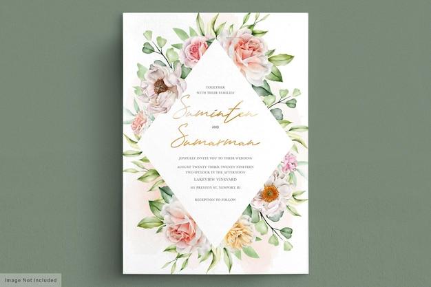 Carte d & # 39; invitation aquarelle pivoines et roses