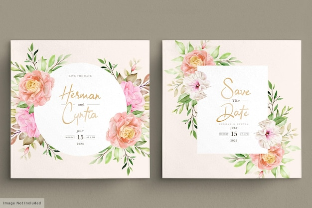 Carte d'invitation aquarelle printemps floral et feuilles