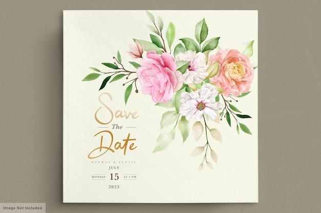 Carte d'invitation aquarelle printemps floral et feuilles
