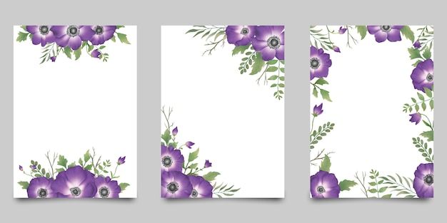 Carte d'invitation aquarelle sertie de fleur pourpre