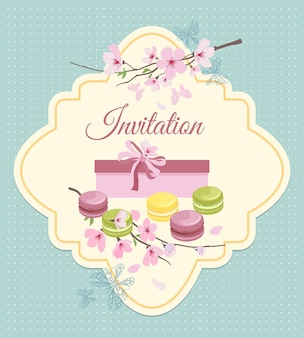 Carte d'invitation au thé avec des fleurs et des macarons français dans un style nostalgique vintage.