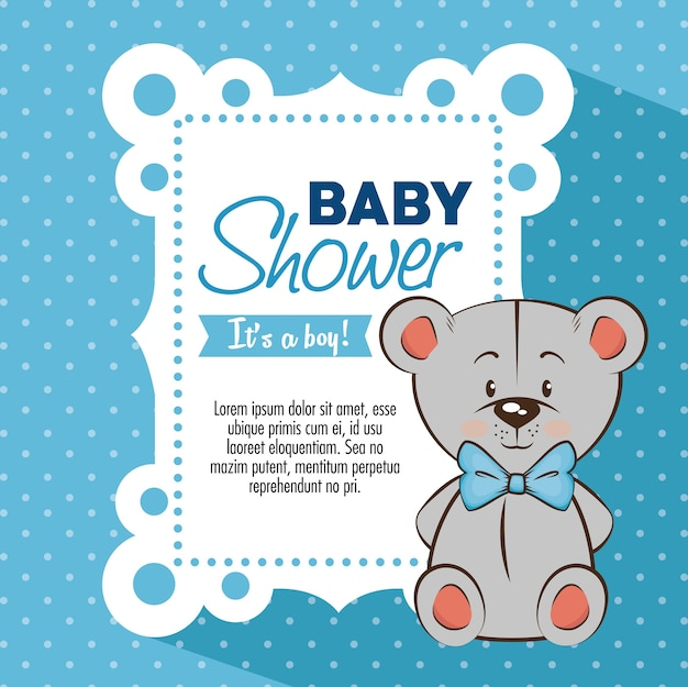 Carte d'invitation bébé douche garçon