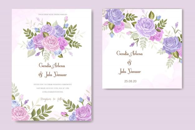 Carte d'invitation avec de belles fleurs et feuilles