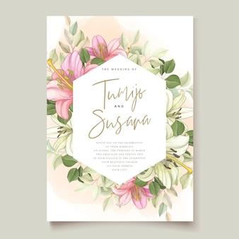 Carte d'invitation de belles fleurs de lys floral