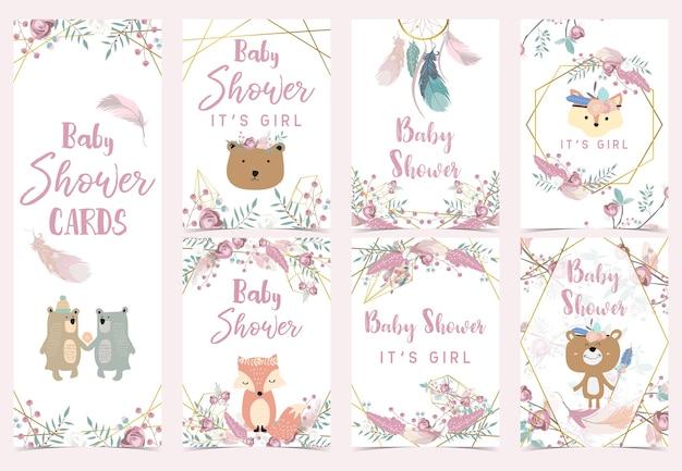 Carte d'invitation boho géométrie or rose avec rose, feuille, couronne, plume, ours, renard et cadre